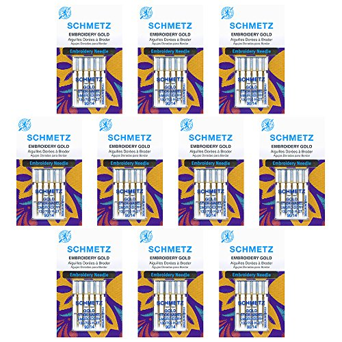 (50 Schmetz Gold Embroidery Sewing Machine Needles - size90/14 - Box of 10 cards)
