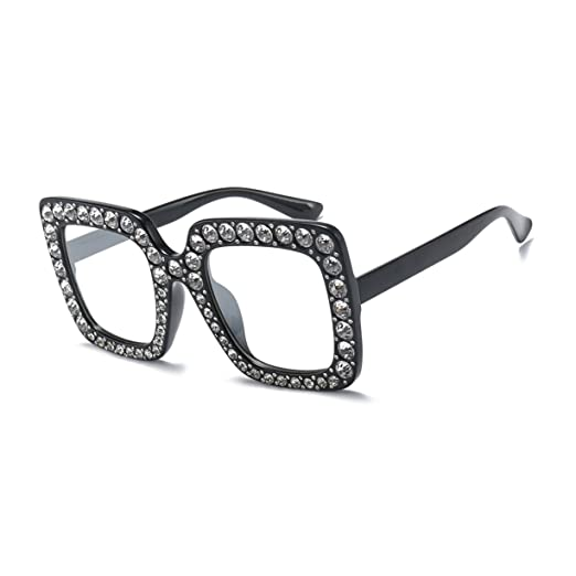 665ff5fc9f Image Unavailable. Image not available for. Color  Oversized Crystal Square  Sunglasses Women Fashion Brand ...