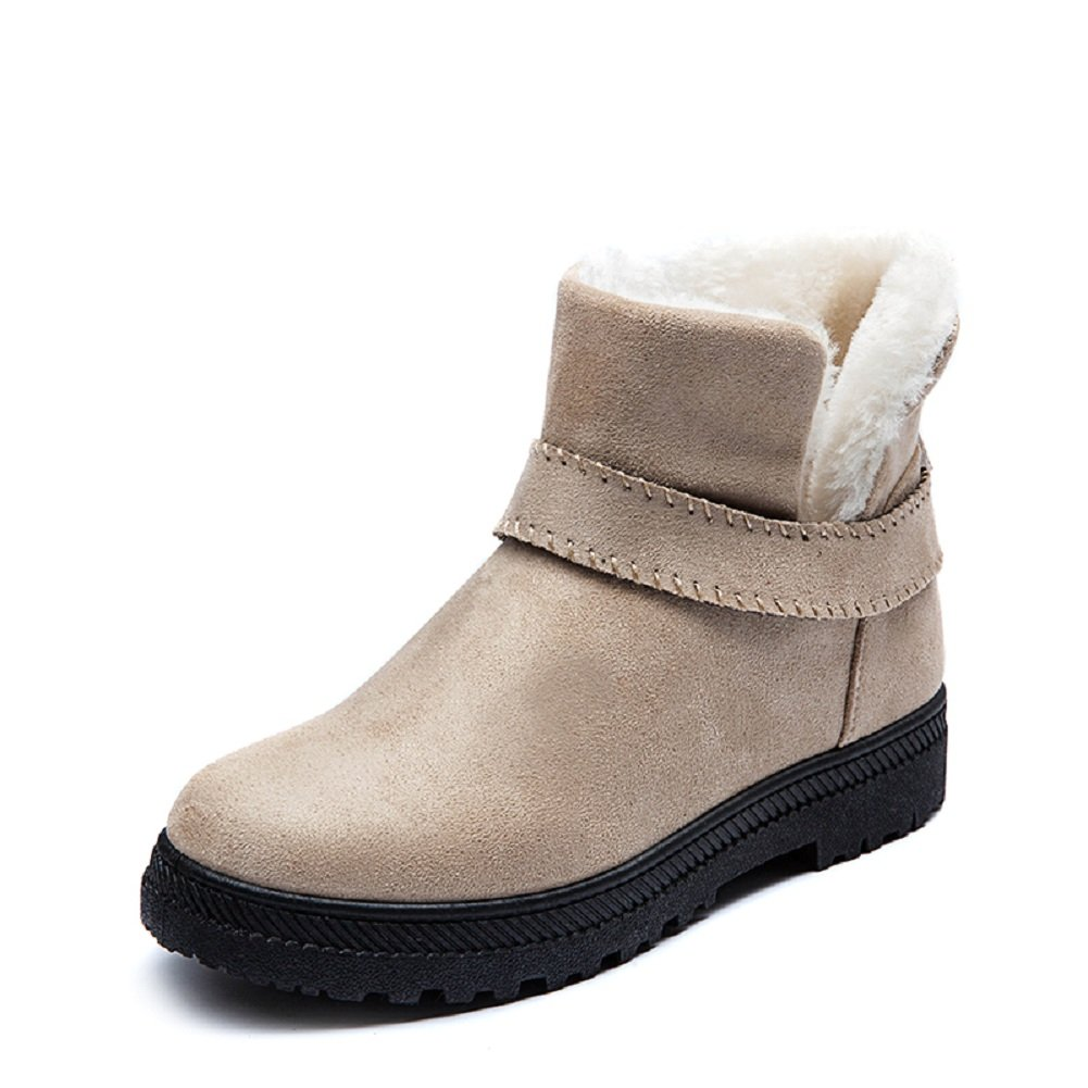 NOT100 Womens Frosted Monk Straps Ankle Boots with Fur Lining in Winter