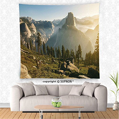 VROSELV custom tapestry Farm House Decor Tapestry Wall Hanging Yosemite Valley and Half Dome in the Foggy Morning During Romantic Sunrise Scenery Bedroom Living Room Dorm Decor Green (Cowboy Dome Lunch Box)