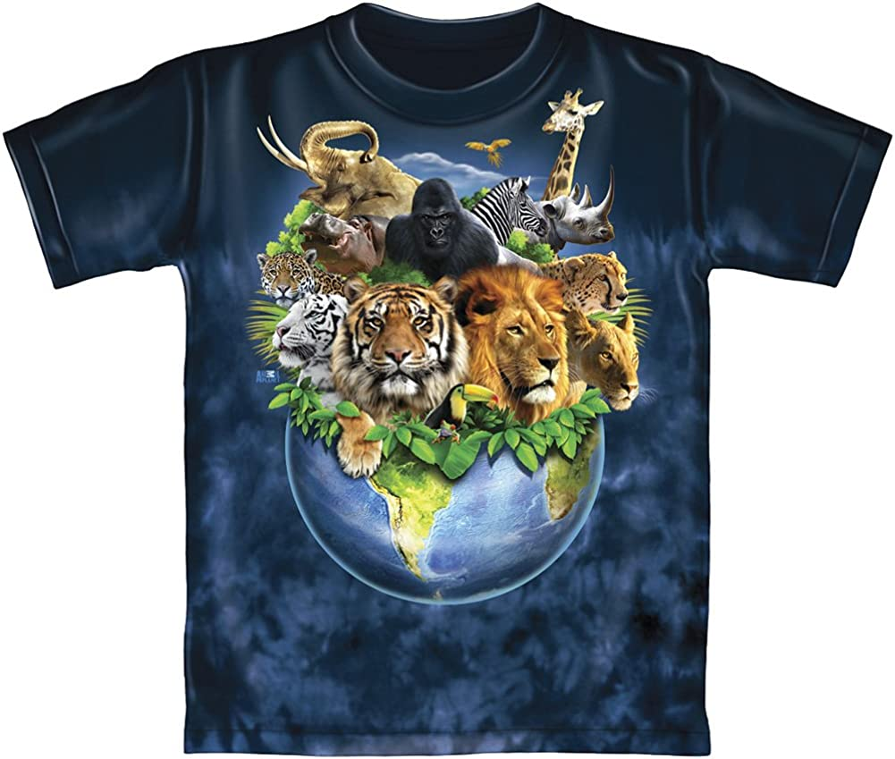 Animals on Planet Earth Tie Dye Adult Tee Shirt