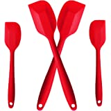 VAPSINT Fanstastic Value Flex 4 Pieces Silicone Spatula Set,Red