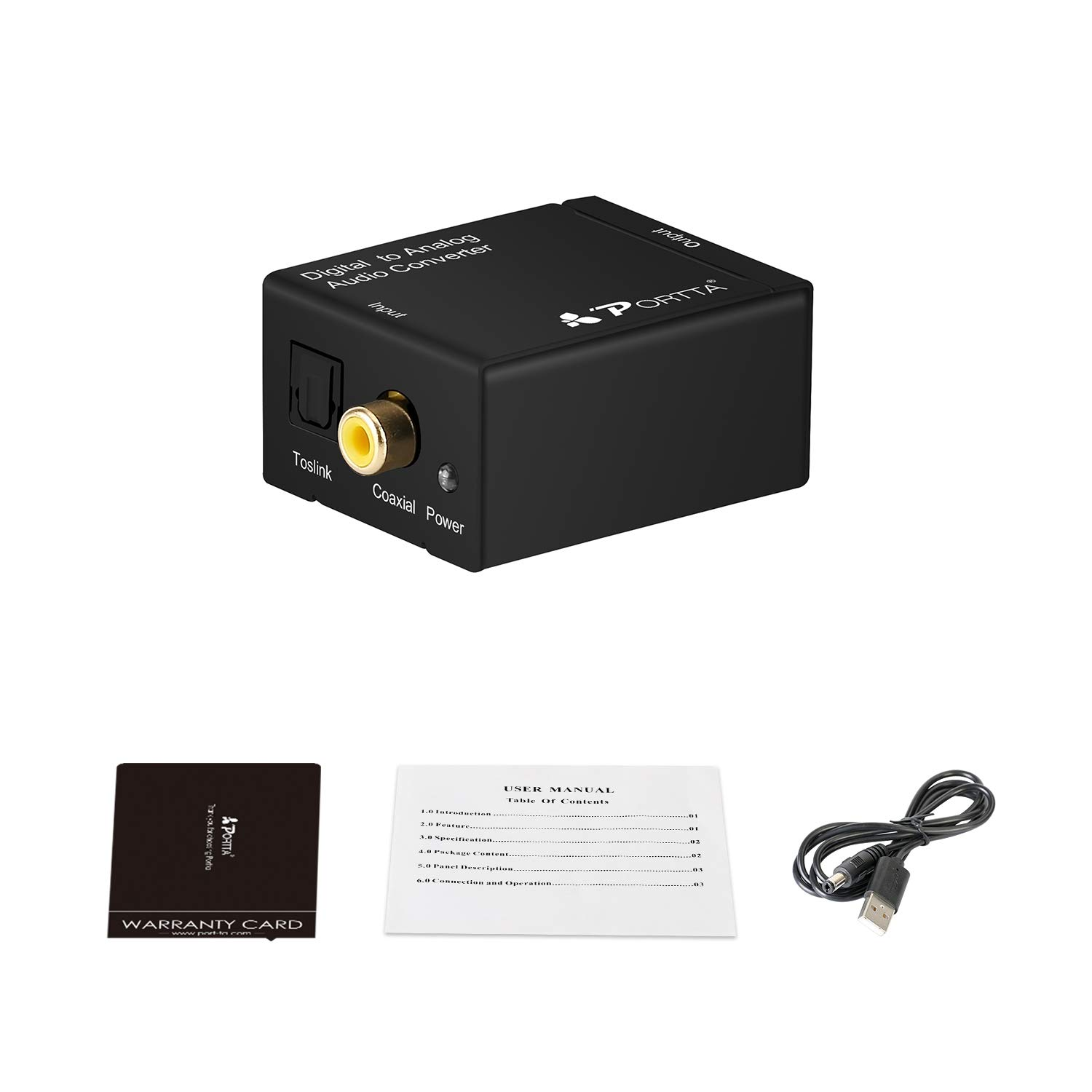 Amazon.com: Portta Audio Converter Digital Toslink/Optical SPDIF to L/R RCA  Audio Converter Support 2 channel Stereo LPCM CH2.0 without Decode Function  for ...