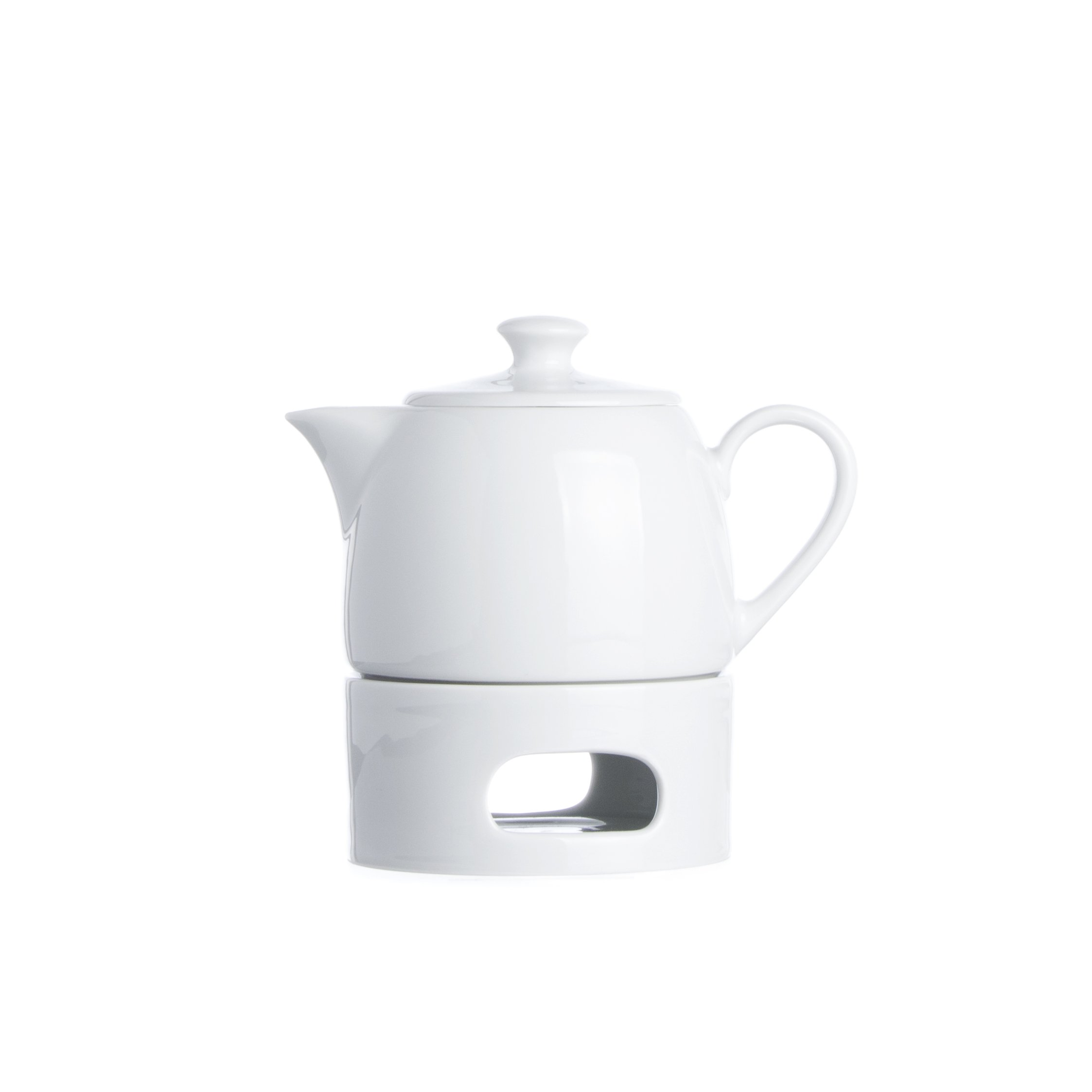 Smart And Cozy White Porcelain TEAPOT with Candle Warmer (13.5 oz), Restaurant&Hotel Quality