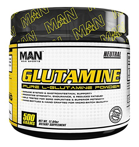 MAN Sports 100% Pure L-Glutamine Powder, Neutral, 500 Gram