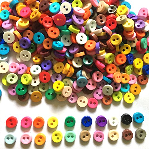 Craft Doll Clothes - 100 Pcs Tiny Button, Micro Button 2hole Size 6 Mm Assorted Color