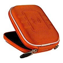 VanGoddy Semi Hard Nylon Carrying Case for Sony Cyber-shot DSC-QX30 / Alpha QX1 / DSC-W800 / DSC-WX350 / DSC-W830 / DSC-W810 Digital Cameras + Screen Protector (Orange)