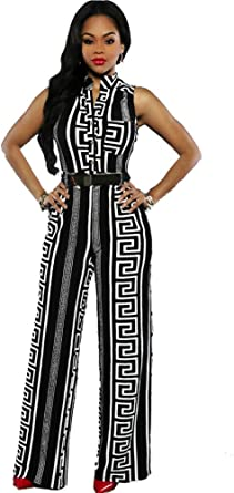 Michun ShuangHeLian Womens Button Up Printed Long Wide Leg Pant Party Jumpsuits with Belt