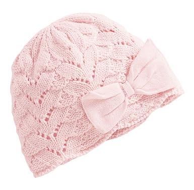 7d8fd4bc0295 Bigood Bonnet Fille Garçon Coton Chapeau Creux Nœud Papillon Elastique Rose  Age 0-12 Mois