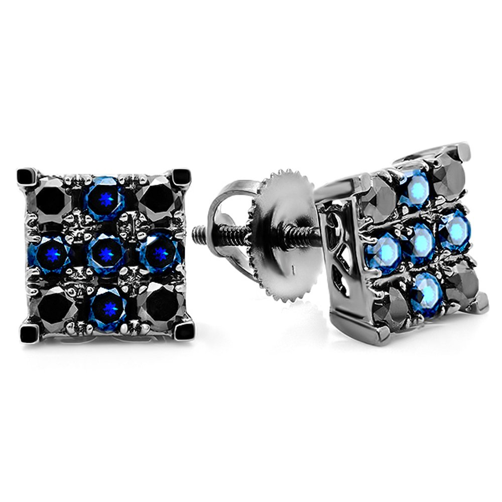 10K White Gold Round Black Diamond & Blue Sapphire Men's Square Shaped Stud Earrings