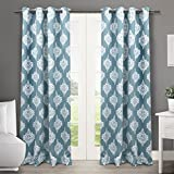 Exclusive Home Medallion Blackout Thermal Grommet Top Window Curtain Panels, 52-Inch by 84-Inch, Teal, Sold as Set of 2/Pair