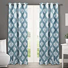 Exclusive Home Curtains Medallion Thermal Blackout Grommet Top Window Curtain Panel Pair, Teal, 52x84