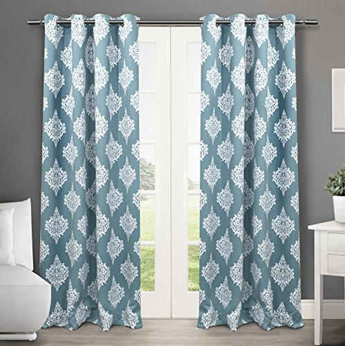 Exclusive Home Curtains Medallion Thermal Blackout Grommet Top Window Curtain Panel Pair, Teal, 52x84 (Teal Silver Curtains)