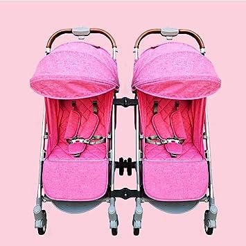 GZZ Cochecitos De Bebé Gemelos Plástico Plegable De Aleación De Aluminio Puede Sentarse Puede Mentir Alto Paisaje Paraguas Carrito De Bebé,Pink: Amazon.es: ...