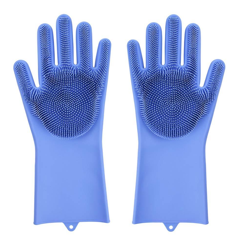 Magic Saksak 食器洗浄機用手袋 スクラバー付き シリコーン製クリーニング 再利用可能な手袋 洗剤 キッチン 浴室用 ブルー 1組 右手と左手用 B07JG1Q7MG