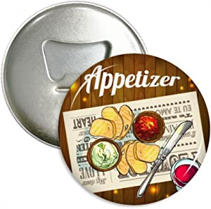 Appetizer Slice of Bread Wine Bottle Opener Fridge Magnet Emblem Multifunction Badge