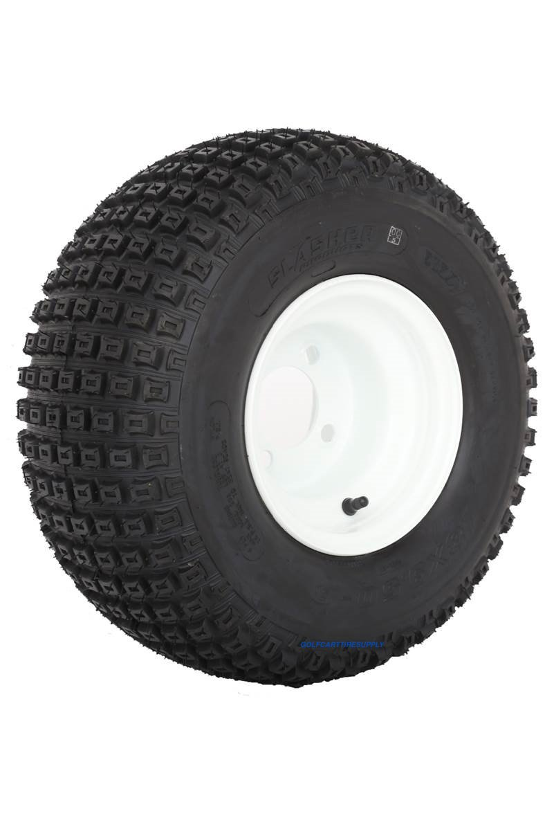 Slasher Knobby 18x9.50-8'' Golf Cart Tires / ATV Tires and 8'' White Steel Golf Cart Wheel Combo - Set of 2 by Golf Cart Tire Supply (Image #2)