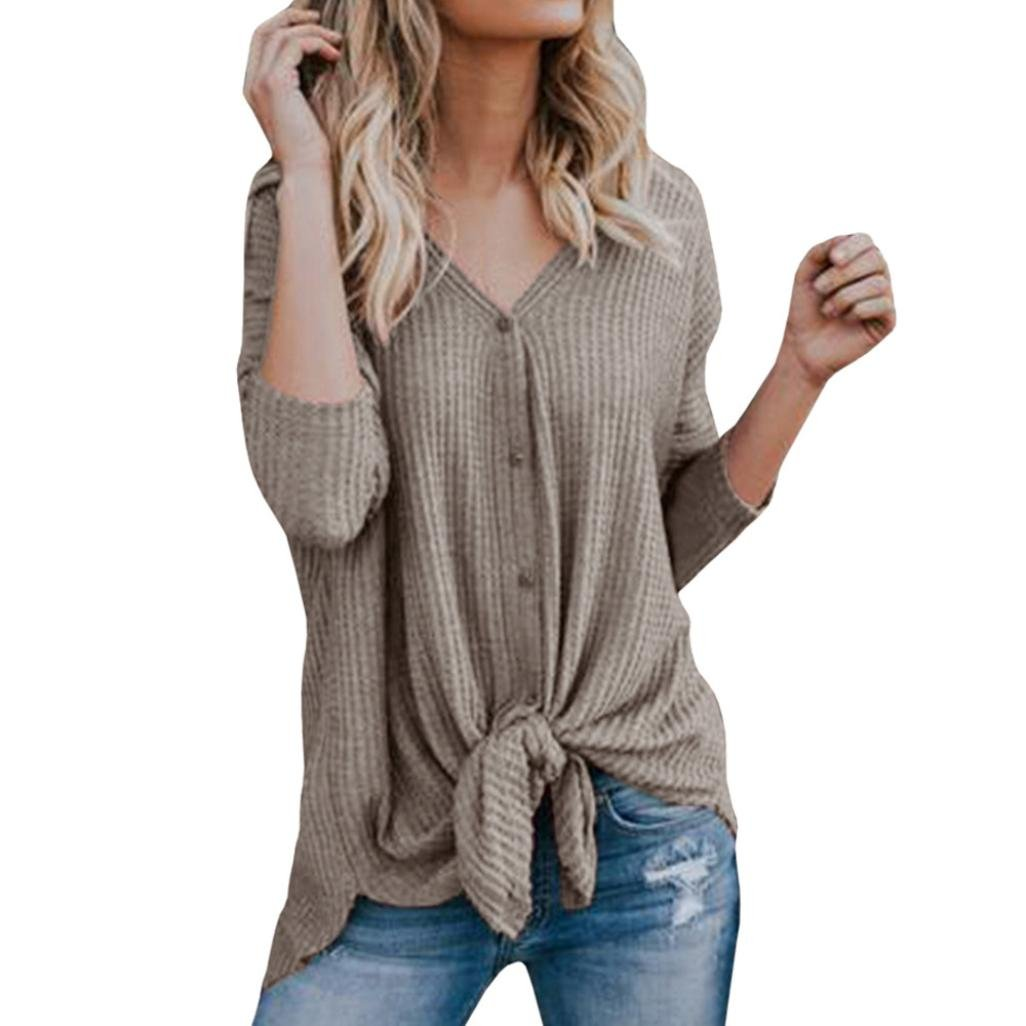 vermers Clearance Womens Blouse Womens Loose Knit Tunic Tie Knot Henley Tops Batwing Plain Shirts(L, Khaki)
