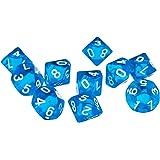 D10 Bleu Dix Dés De Pierres Précieuses Face Pour Rpg Dungeons & Dragons Jeux Ensemble De 10 Dés