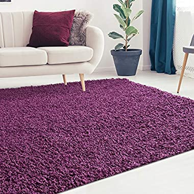 iCustomRug Cozy and Soft Solid Shag Rug 8X10 Plum/Purple Ideal to Enhance Your Living Room and Bedroom Decor