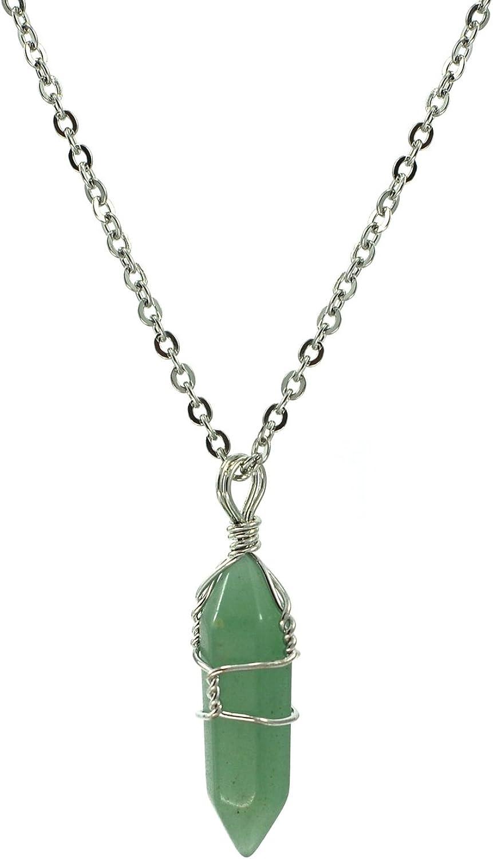 Paialco Jewelry - Collar con colgante de chakra de cristal natural con alambre de plata, 45,7 cm, aventurina