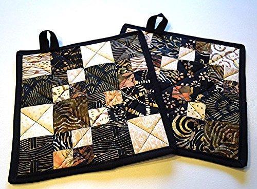 Boho Style Batik Quilted Patchwork Pot Holders Set (Bit Style Earth)