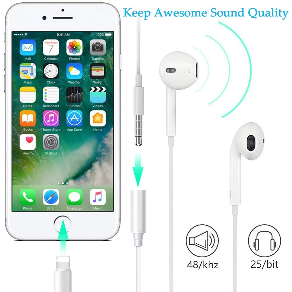 Headphone Adapter for iPhone Adapter Jack Dongle Compatible with iPhone 7//7Plus//8//8Plus //X//XS Max Earphone to 3.5mm Jack Aux Audio Stereo Adaptor Cable Accessories Support iOS 12 System