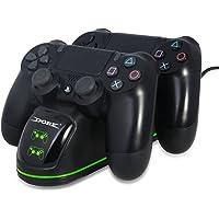 TUTUO Caricatore per Controller PS4, Doppia Ricarica Veloce DualShock 4 con Spia LED Dello Stato di Carica, per Controller Wireless di PlayStation 4, Slim 4 et 4 Pro
