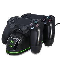 TUTUO per Caricatore per Controller PS4, Doppia Ricarica Veloce DualShock 4 con Spia LED Dello Stato di Carica, per Controller Wireless di PlayStation 4, Slim 4 et 4 Pro