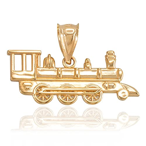 Pulido 10 K oro motor de locomotora de vapor tren encanto colgante: Amazon.es: Joyería
