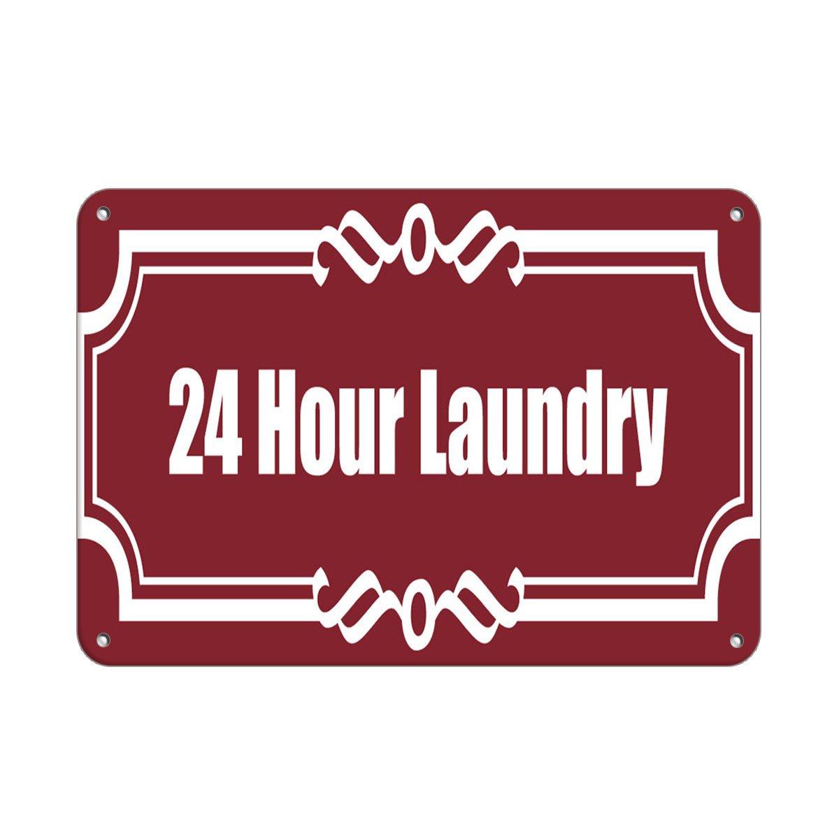 Fastasticdeals Cartel de Aluminio de 24 Horas de lavandería ...