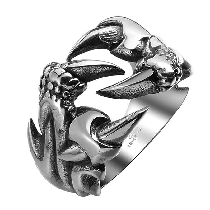 Bodya Herren Ring, Antik, Krallen, Edelstahl, Punk, Totenkopf, Drachenklauen, Silberfarben, Größe 18 by Amazon