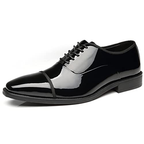 6b16ff882a921 Faranzi Tuxedo Shoes Patent Leather Wedding Shoes for Men Cap Toe Lace up  Formal Business Oxford Shoes