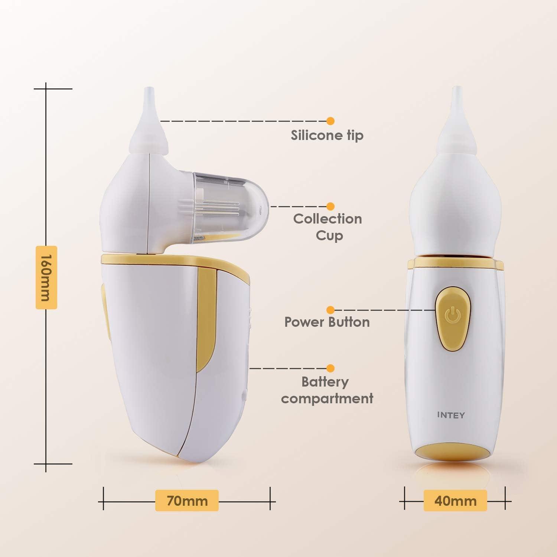 INTEY Aspirador Nasal Eléctrica, 2 Boquillas de Silicona, Protección Antirreflujo, Dispositivo de Succión Nasal para Bebés, Congestión Nasal, Frío, Moco, con Certificación: Amazon.es: Bebé