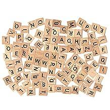 400pcs Wood Letters Scrabble Tiles,4 Complete Sets,Tile Games,Wood Pieces,Great for Crafts