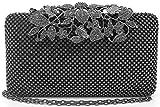Womens Evening Bag with Flower Closure Rhinestone Crystal Clutch Purse Pewter