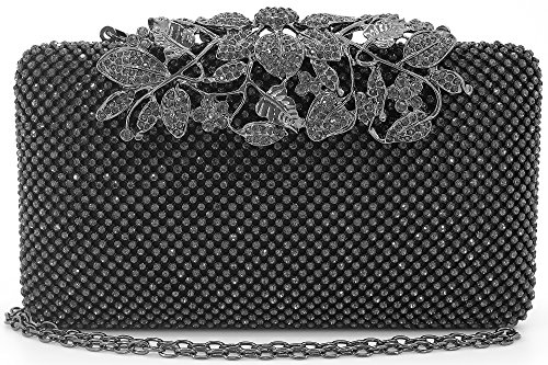 Womens Evening Bag with Flower Closure Rhinestone Crystal Clutch Purse Pewter