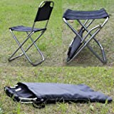 MAZIMARK--Portable Folding Aluminum Chair Outdoor Stool Seat Fishing Camping Travel Picnic
