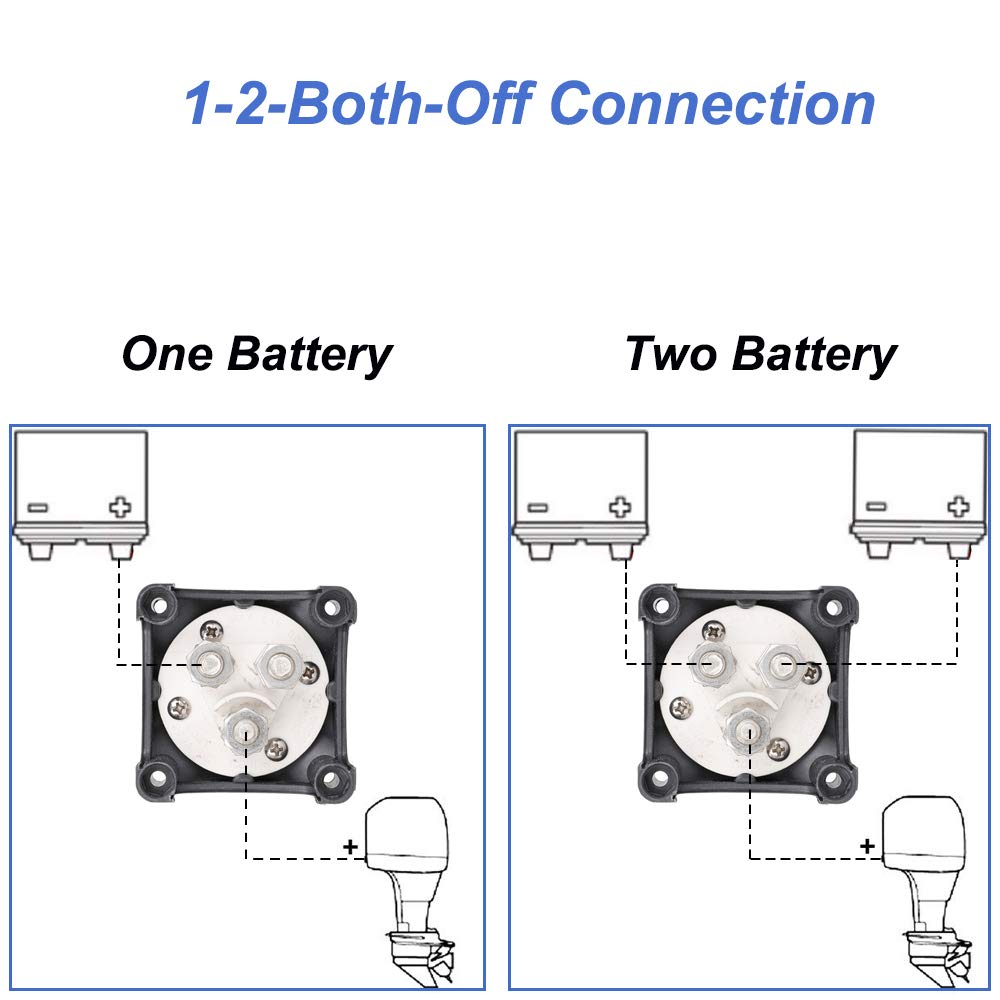 Dual Battery Disconnect Switch 12V 3 Months Warranty 60V Battery DC Power 1-2-Both-Off 200/1250 A Waterproof Master Isolator for Marine Boat Yacht Truck Car SUV RV ATV UTV Vehicles