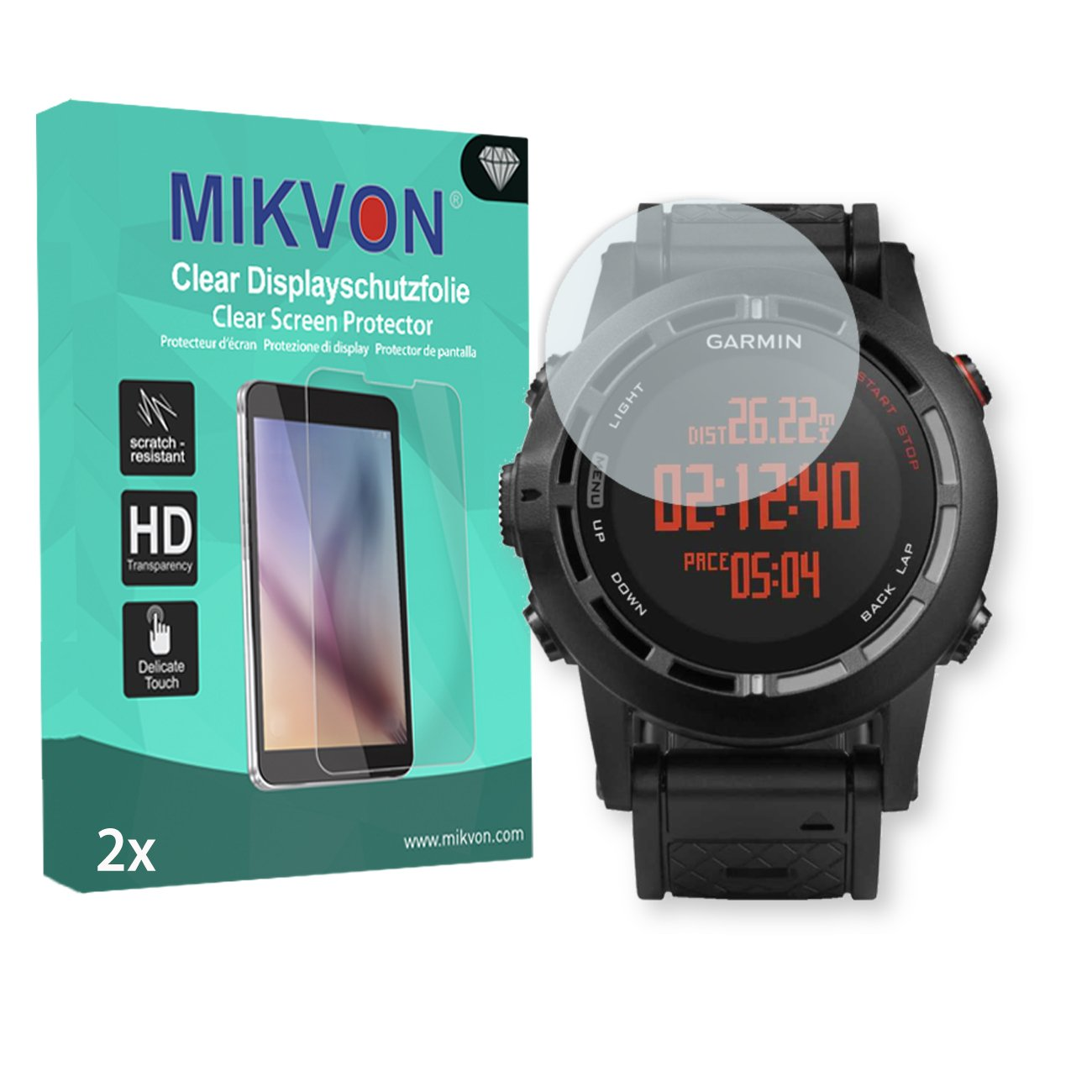 MIKVON 2X Clear Screen Protector for Garmin Fenix 2 - Retail Package with Accessories