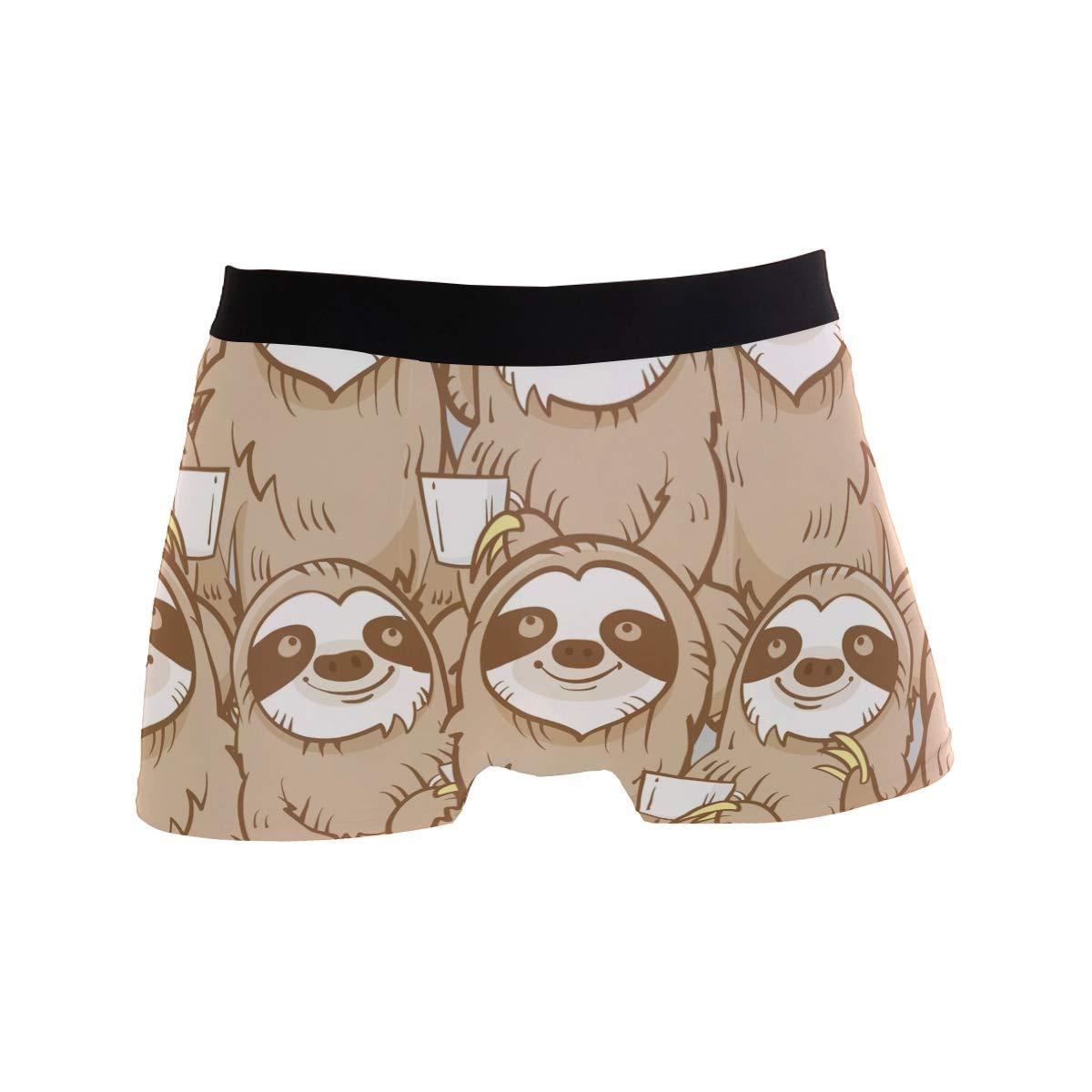 ZZKKO Cute Cartoon Sloth Mens Underwear Boxer Briefs Breathable Multi