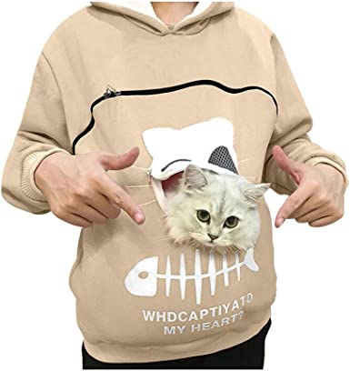 Mikilon Pet Pouch Hoodie Sweatshirt Small Pet Carrier Dog Cat Pouch Hooded Pullover Kangaroo Pocket Holder For Women At Amazon Women S Clothing Store