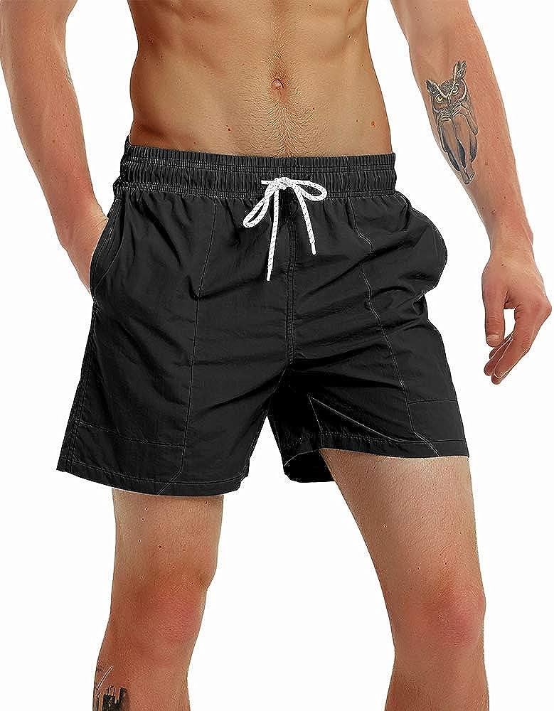 Gopune Fashion Short Men's Swim Trunks Boardshorts Quick Dry Beach Wear Shorts with Mesh Lining