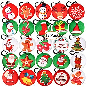 Aitey Christmas Decorations, Mini Plush Pillow Keychain for Christmas Party Supplies Favors, Xmas Tree Hanging Ornaments (25 Pack)