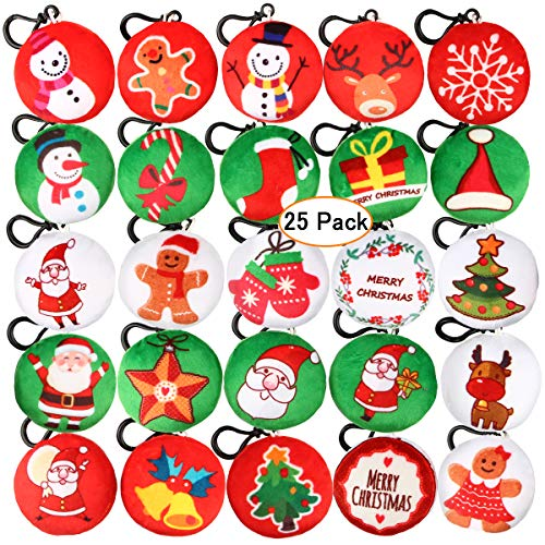Aitey Christmas Decorations, Mini Plush Pillow Keychain for Christmas Party Supplies Favors, Xmas Tree Hanging Ornaments (25 Pack) ()