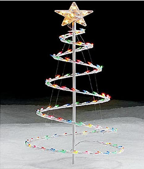 christmas 35 spiral tree with multi color lights outdoor yard decoration - Outdoor Christmas Spiral Tree Decorations