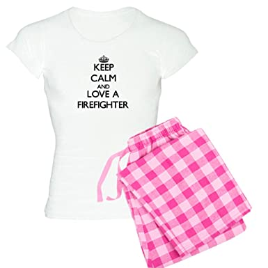Amazon.com  CafePress - Keep Calm And Love A Firefighter Pajamas ... a3b724a8a