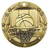 Basketball World Class Gold Medal with Red, white & blue v-neck ribbon