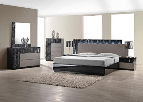 Ju0026M Furniture Roma Black U0026 Grey Lacquer With Unique Wave Design Queen Size Bedroom  Set