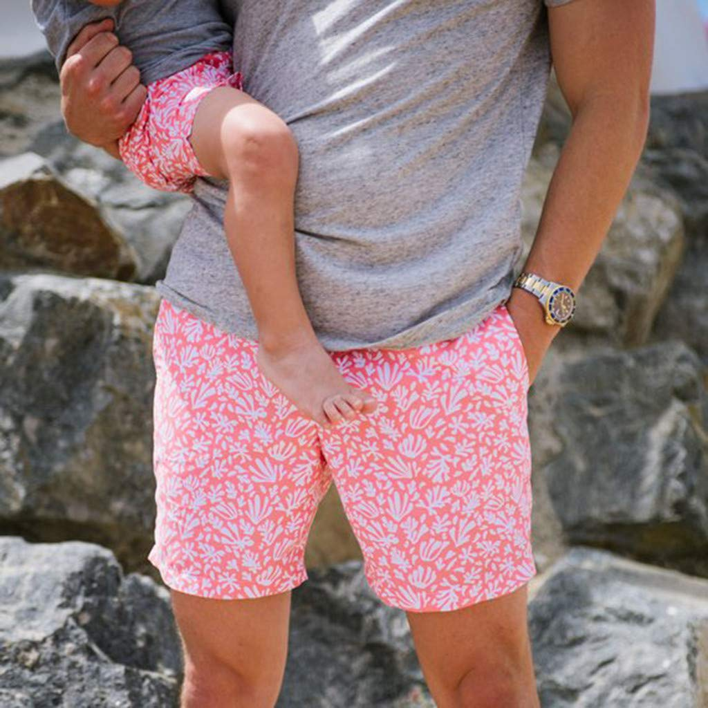 NUWFOR Men Daddy Swimwear Running Surfing Sports Beach Shorts Trunks Board Pants(Pink-Dad,US:L Waist33.1-35.4'') by NUWFOR (Image #5)